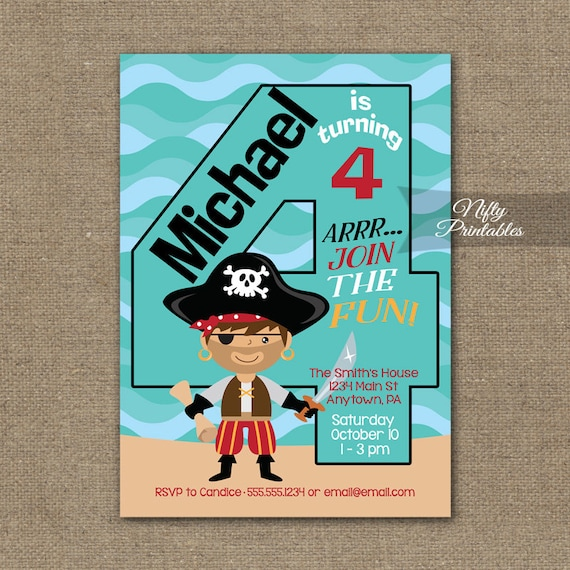 Boys 4th Birthday Invitation Pirate Invitations