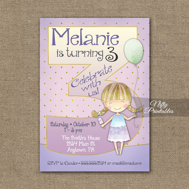 Girls 3rd Birthday Invitations Invitation