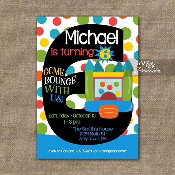 Bounce House Invitation 6th Birthday