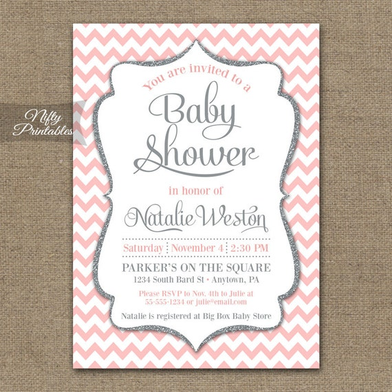 Pink gray baby shower invitations printable blush pink etsy image 0 filmwisefo