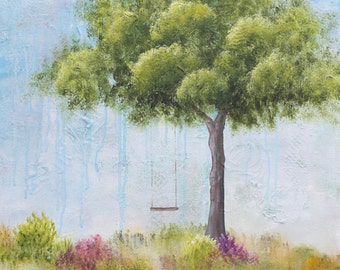 Summertime, Original Acrylic Painting, Abstract Landscape, Swing, Blue, Green, Trees, Vivid Color