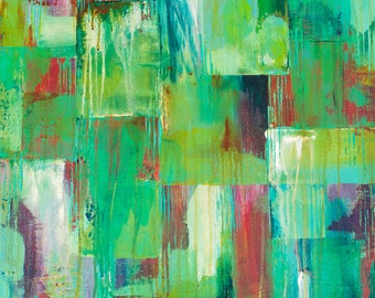 Copper Age, Original Acrylic Painting, Abstract Painting, Teal, Dripping Paint, Aged, Distressed
