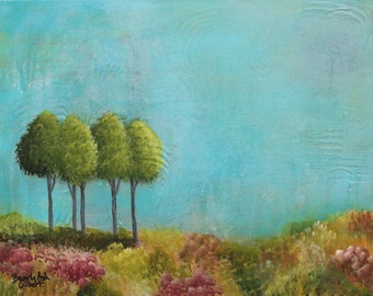 Turquoise Sky, Original Acrylic Painting, Abstract Landscape, Teal, Orange, Green, Trees, Vivid Color