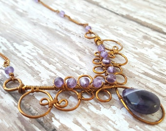 Amethyst Necklace - Purple Gemstone Necklace - Copper Wire Wrap Necklace - Bohemian Necklace - Gypsy - Bib Statement - February Birthstone