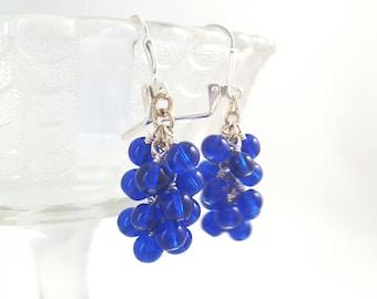 Cobalt Blue Cluster Earrings - Cobalt Blue Glass Dangle Earrings - Beaded Earrings - Grape Earrings - Dark Blue Dangle Earrings