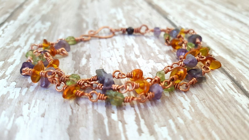 Mixed Gemstone Bracelet Amethyst Peridot Bracelet Baltic Amber Multi Strand Natural Gemstone Bracelet Copper Wire Wrapped Bracelet