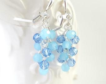 Light Blue Earrings - Cluster Earrings - Faceted Glass Earrings - Grape Earrings - Milky Blue - Sparkling - Sparkle Earrings - Formal