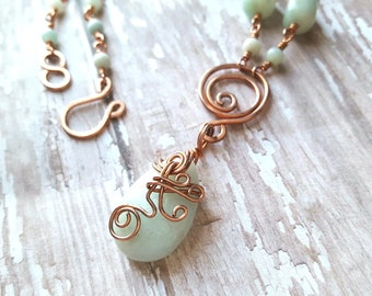 Amazonite Necklace - Copper Wire Wrapped Necklace - Light Blue Stone - Natural Gemstone - Boho - Earthy Jewelry - Hippie - Heady