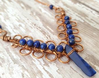 Lapis Lazuli Necklace - Copper Wire Wrapped Necklace - Blue Gemstone Necklace - Bib Statement Necklace - Boho - Gypsy - Art Nouveau