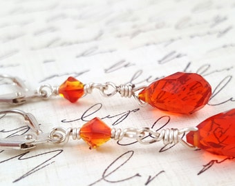 Red and Orange Crystal Earrings - Glass Crystal Earrings - Red and Orange Dangle Earrings - Faceted Glass Teardrop Earrings