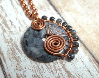 Blue Labradorite Pendant Necklace - Natural Gemstone - Wire Wrapped Necklace - Sprial - Boho - Blue Labradorite - Copper Pendant - Gypsy