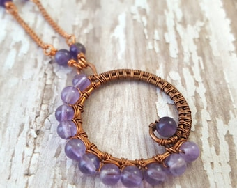 Amethyst Necklace - Copper Wire Wrapped Pendant - Purple Gemstone Necklace - Bohemian - February Birthstone Necklace - Gypsy - Hippie - Boho