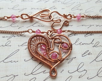 Valentine's Day Necklace - Copper Wire Wrapped Necklace - Pink Swarovski Crystal - Heart Necklace - Copper Necklace - Love - Romantic Gift