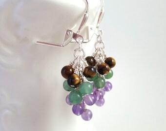 Mixed Gemstone Earrings - Tigers Eye - Amethyst - Green Aventurine - Cluster Earrings - Grape Earrings - Lever Back Earrings - Gypsy - Boho