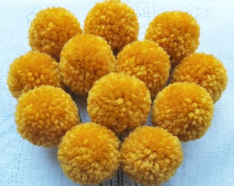 Gold Yarn Pom Pom Flowers: Set of 12