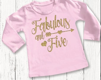 Five Year Old Birthday Shirt Fifth Girls 5 Th Girl Outfit Tshirt