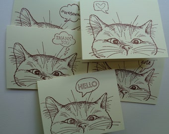 Kitty Cat Greeting Cards - Cat Greeting Cards - Cat note cards - Blank note cards - Curious Cat Cards - Purrfect blank cards