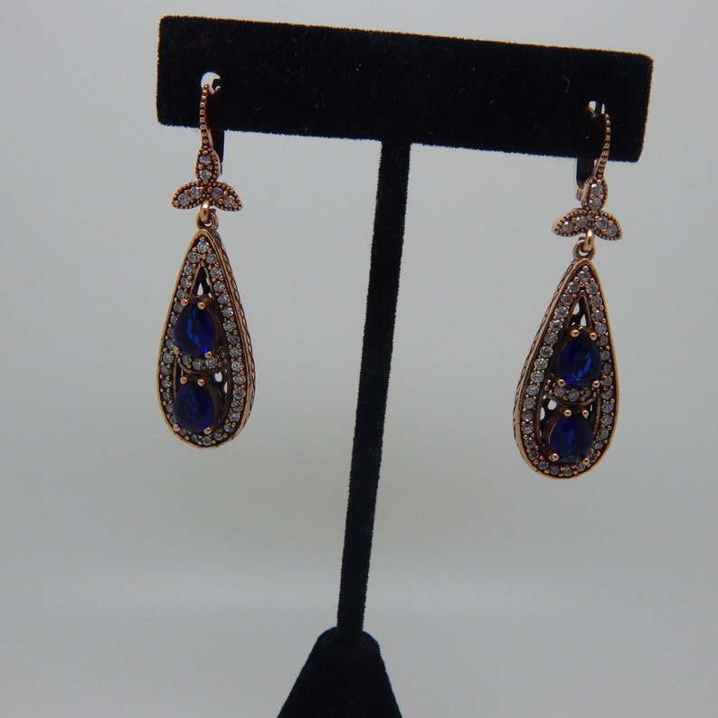 2833939738a2e Turkish Handmade Authentic Ottoman sapphire Lob Created Vintage Style  Earrings , Two tone Drop Earrings ,Rose Gold plated