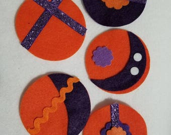 Clemson inspired felt ornaments for felt Christmas tree - Set of 5