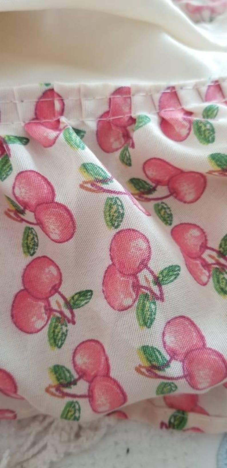Adorable cherries window treatment...valance plus panel...creamy color background