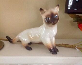 Siamese cat figurine.....larger sized......handpainted ceramic......vintage