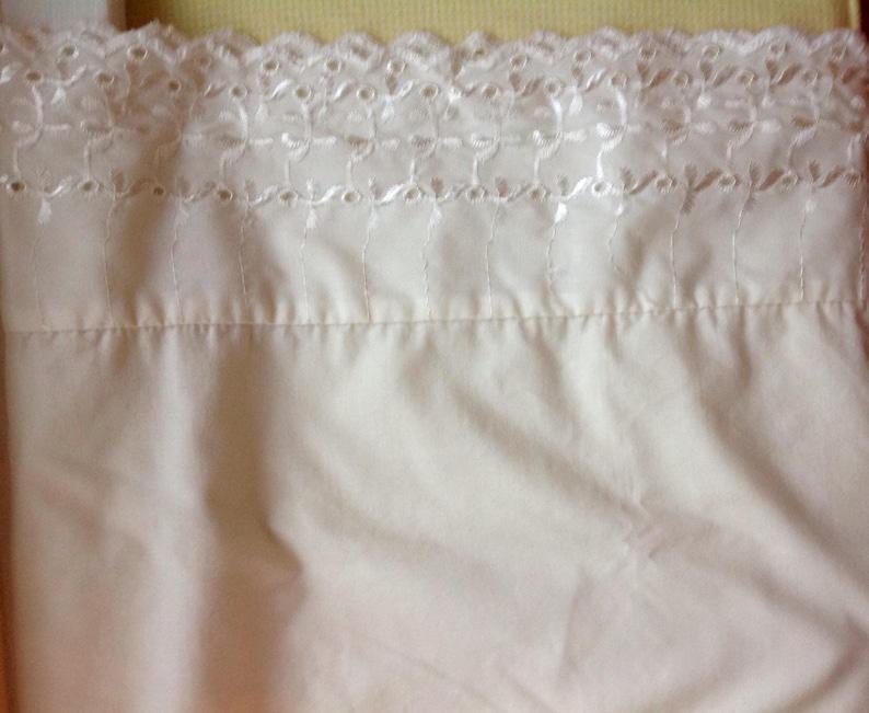 Single Pillowcase .....vintage ivory color with embroidered border....ivory eyelet....shabby cottage style