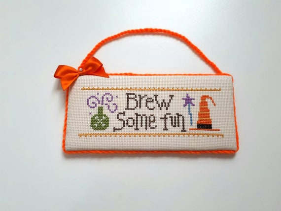 Completed Halloween Cross Stitch Ornament Brew Some Fun Halloween Home Decor Witch Hat Halloween Wall Hanger Halloween Gift Idea