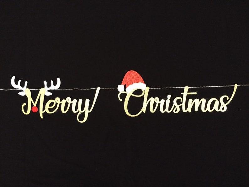 Frohe Weihnachten Glitzer.Frohe Weihnachten Banner Weihnachtsmann Hut Rudolf Die Rote Nase Rentier Skript Gold Glitzer