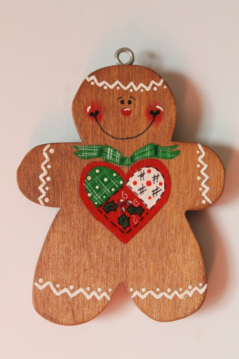 Tole Painted Wood Gingerbread Man Ornament