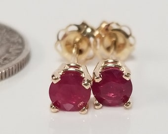 0c074885a 4mm Estate 14k Yellow Gold Natural Burma .50ct Ruby Round Cut Earrings Studs  Burmese GE17-1