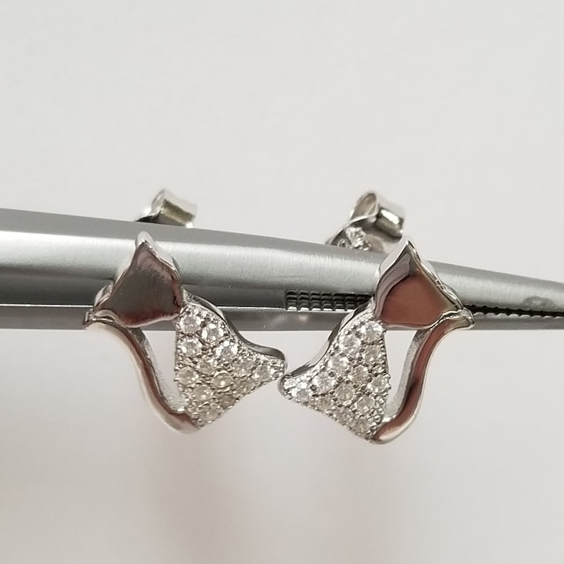 Old Stock 38 Estate 925 Sterling Silver Cat Felix Cz Diamond Studs Earrings E4-3
