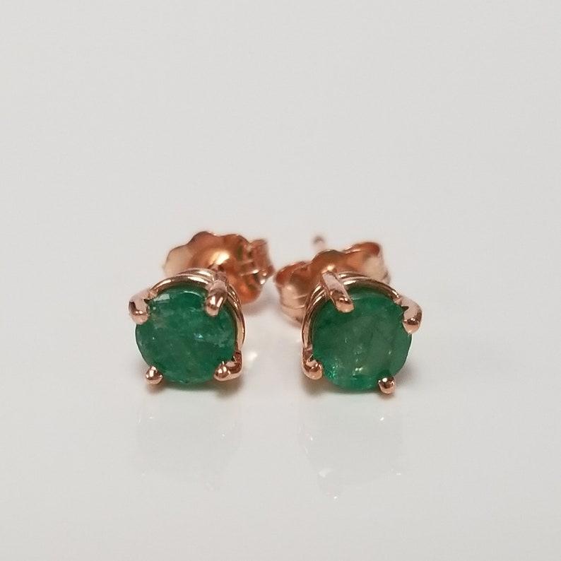 cebef583e0f7e 4.7mm Estate 14k Rose Gold Natural Emerald .60ct Earrings Studs Stud .50ct  GE55-6