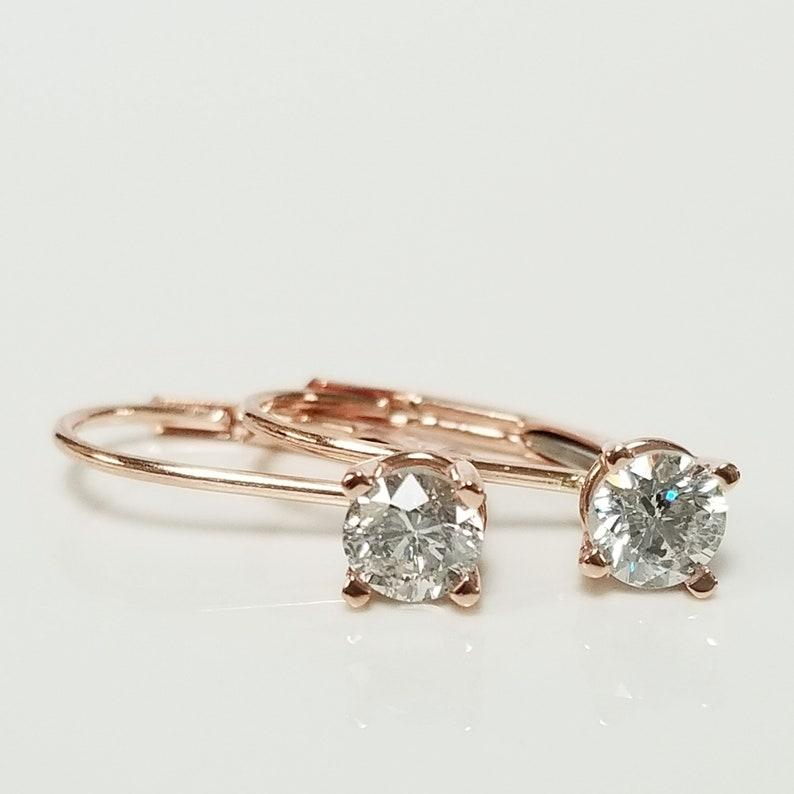 a2afa3d11aa3c SI2 H I Estate 14k Rose Gold .60ct Diamond Lever Back Earrings Hoops Studs  Dangle .55ct .75ct GE148