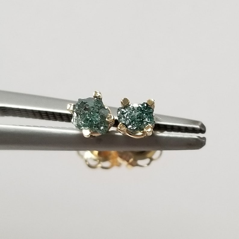 09c948af8aaaf 3.5mm Nature Unearthed 14k Blue Gold ROUGH .25ct Diamond Studs Stud Ocean  .20ct .30ct GE22-2