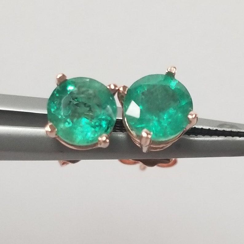 4fe27ba7bdb12 5.5mm Estate 14k Rose Gold Natural Emerald 1ct Earrings Studs Stud .50ct  GE164