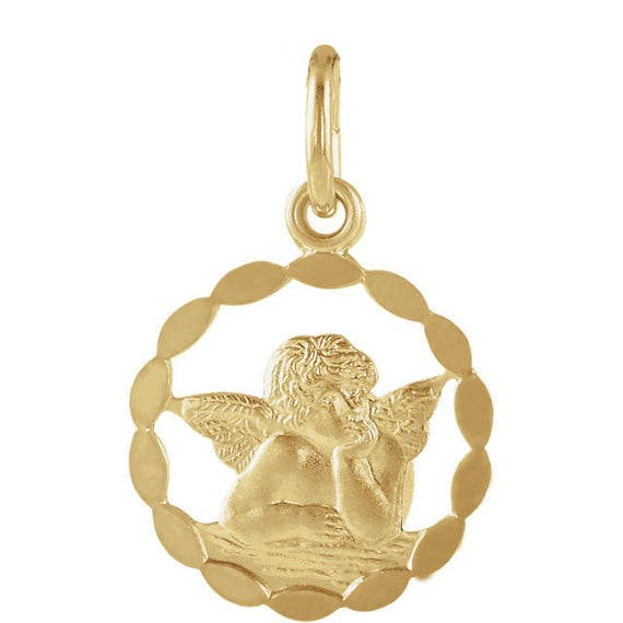 10k Yellow Gold Estate Guardian Angel CharmPendant