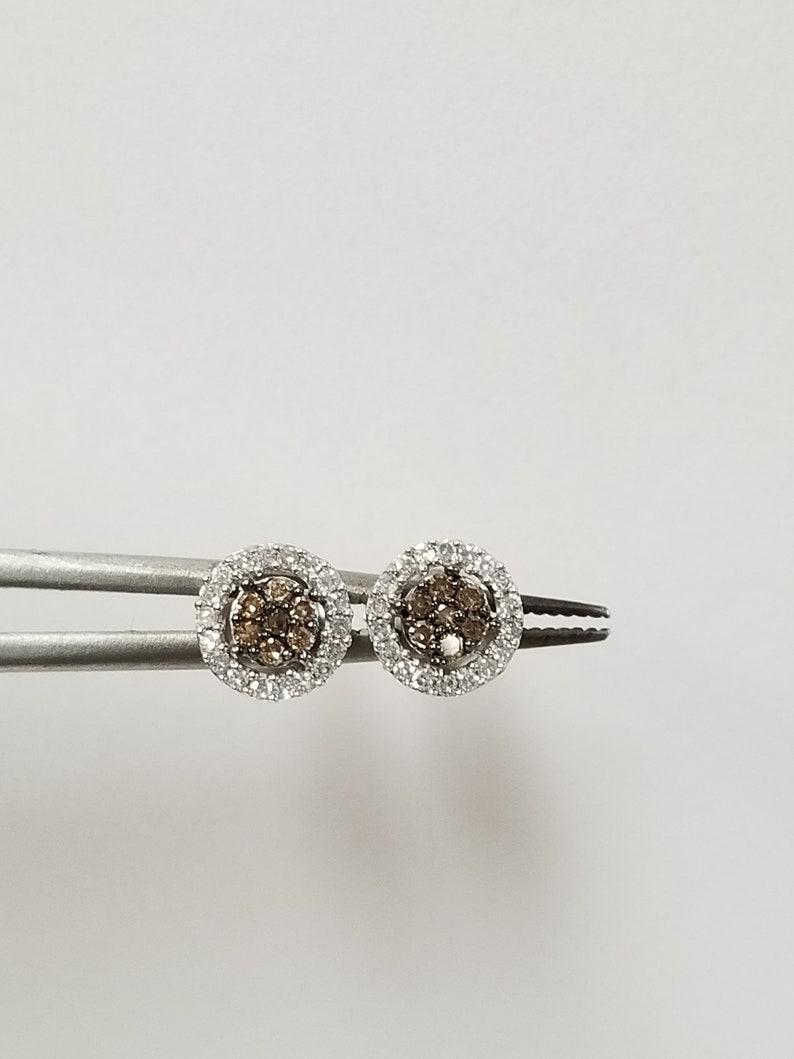 Sale 6.8mm Estate New 14k White Gold Natural Champagne .25ct White Diamond Screw Post Backs Studs Earrings 6mm 7mm DNG57-01