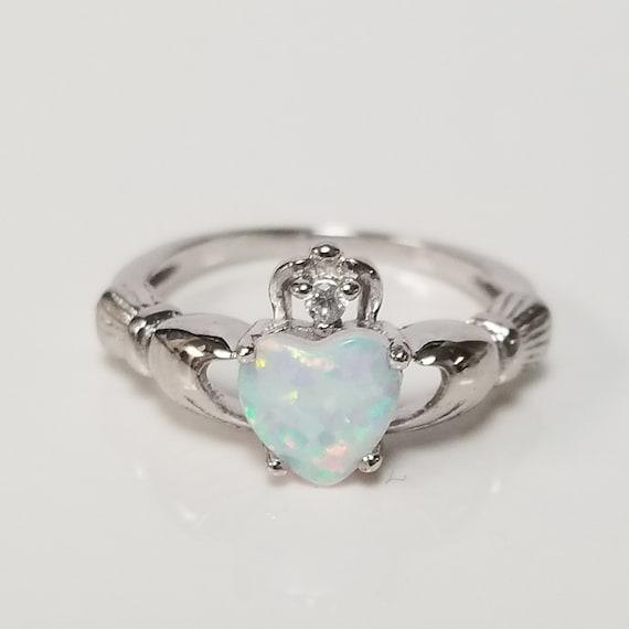 USA Seller Double Heart Ring Sterling Silver 925 Garnet CZ /& White Opal Size 7