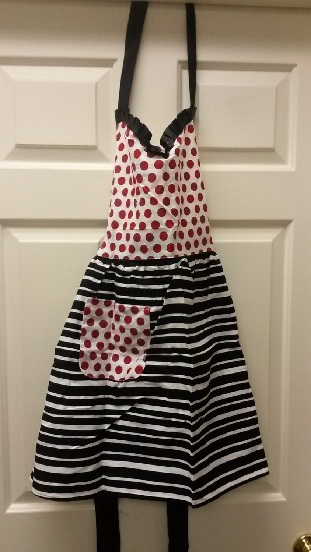 Vintage Aprons, Retro Aprons, Old Fashioned Aprons & Patterns Polka Dots Stripe Red White Black Hostess Apron Size M To L 100 Cotton Pocket $15.00 AT vintagedancer.com