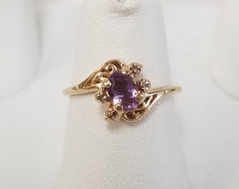 Sale Size 6 Estate 14k Yellow Gold Natural .50ct Amethyst .05ct Diamond Ring Sweetheart GS2092-01