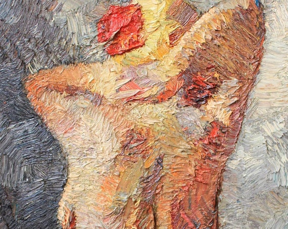 Original painting, female nude oil painting, textured art, female figure, impressionism. contemporary art