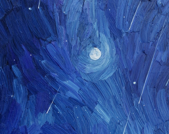 Starry night, sky oil painting, moon, meteor shower, Milky Way painting, Jupiter and Saturn, aminovart