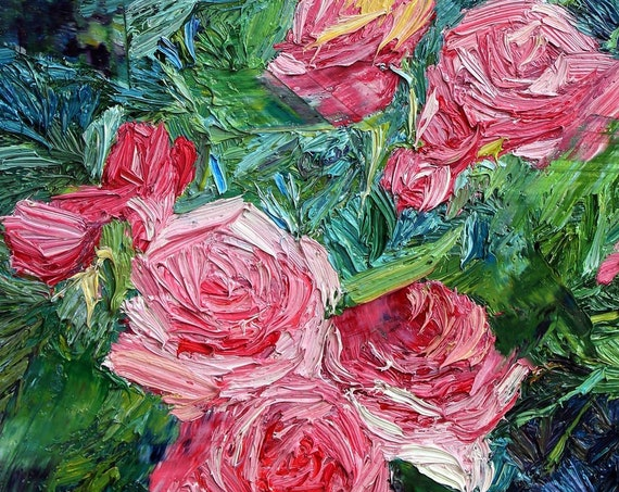 Pink roses oil painting, textured palette knife painting of roses, floral art, contemporary art, Aminovart