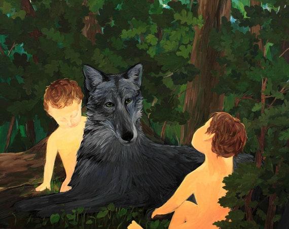 Roman mythology, original acrylic painting on paper, Romulus and Remus art, painting, wolf, contemporary art