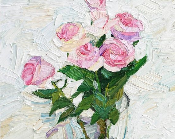 Pink flowers, painting on canvas, textured flowers, floral painting, pink roses on white, still life, white art