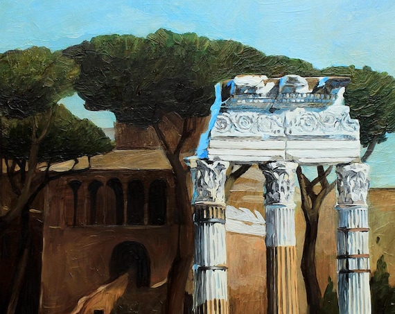 Old architecture painting, architecture art, oil painintg, ancient Rome painting, contemporary art