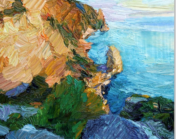 The cliff oil painting on canvas, coastal painting, textured art, seascape, original art