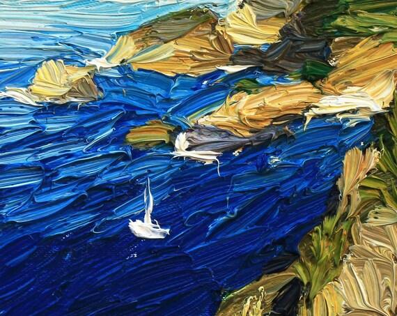 Small impasto painting, framed artwork, boat painting, textured art, coastal art, seascape, gift idea,impressionism.