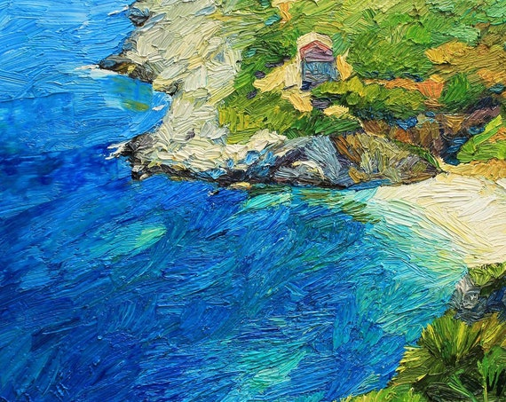 Coastal oil painting on canvas, seascpe painting, blu sea, textured art, sea and beach scene, sicily, italy, impressionist style art
