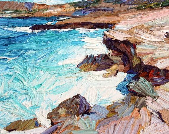Textured waves painting, impasto oil painting, seascape, small art, italian coast, textured art